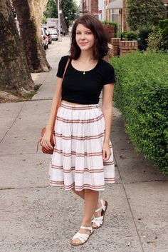 vintage skirt, Beacon's Closet American Apparel crop top purse from a shop in Tulum Saltwater sandals