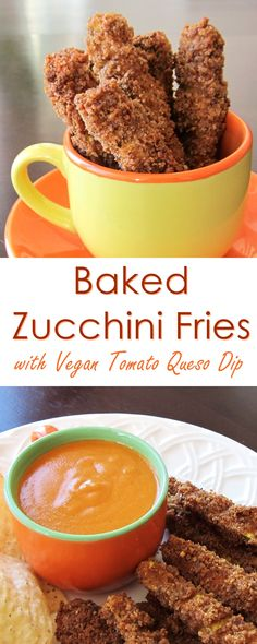 Baked Zucchini Fries Recipe - gluten-free, vegan and served with dairy-free tomato queso dip