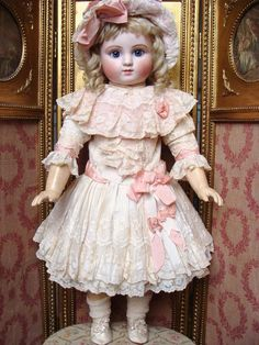 Wonderful antique dress for big french or german bebesDress Doll Clothes outfit costume