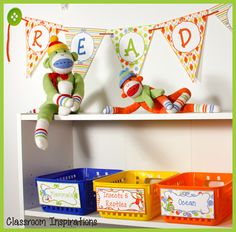 Everyone loves sock monkeys! How can you not with their silly smiling faces and their floppy legs and arms? The Sock Monkey Classroom Theme has lots of choices. $ www.ClassroomInspirations.com
