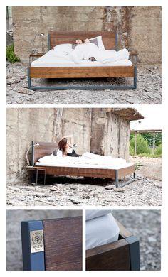 LOFT VINTAGE INDUSTRIAL Bett 160x200 Holz Stahl von N51E12 auf Etsy