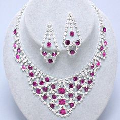 Fuchsia Magenta Crystal Rhinestone Formal Bridal Prom Party Pageant... (820 UAH) ❤ liked on Polyvore featuring jewelry, wedding bridal jewelry, bridal jewelry, prom jewelry, rhinestone wedding jewelry and chunky costume jewelry