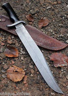 Damascus Bowie Knife Custom Handmade - 17.00 Inches Micarta Handle Bowie