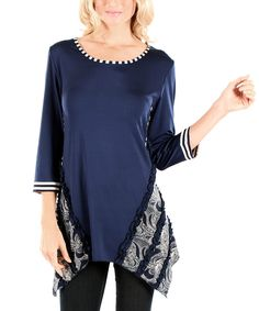 This Blue Paisley Sidetail Tunic by Aster is perfect! #zulilyfinds