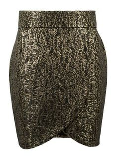 Shop Black Gold Foil Print Wrap Asymmetric Pencil Skirt from choies.com .Free shipping Worldwide.$26.99