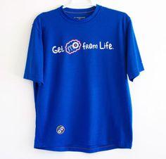 Brooks-Running-Shirt-Mens-Medium-Bright-Blue-Workout-Hiking-Running