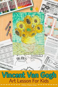Re-create Van Gogh Sunflowers with elementary art students using an egaging roll-a-dice game. Teach oil pastel techniques & Post-Impressionism the fun way! Art Games For Kids, Art Lessons For Kids, Art Lessons Elementary, Art Sub Plans, Art Lesson Plans, Van Gogh For Kids, Van Gogh Drawings, Art History Lessons, Van Gogh Sunflowers