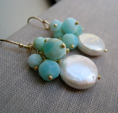 set of 5 blue opal and white pearl earrings, bridal party gifts, bridesmaid earrings, coin pearl earrings, weddings. $130,00, via Etsy.