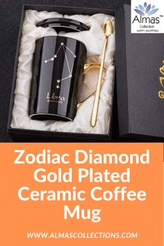 Zodiac Diamond Gold Plated Ceramic Coffee Mug constalations mugs zodiac mugs star mugs For Birthday Gifts For Boys, Birthday Gifts For Girlfriend, Friend Birthday Gifts, Gifts For Mum, Gifts For Women, 12 Zodiac, Zodiac Signs, Boyfriend Gifts, Dinner Parties