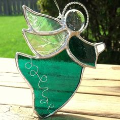 Emerald Green Angel Stained Glass Suncatcher by GoodGriefGlass