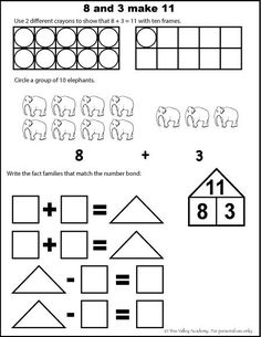 Free math worksheets for kids.  The number 11, addition with ten frames, fact families, number bonds, etc.