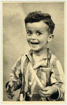Portrait of 4-year-old Istvan Reiner, (taken shortly before he was killed in Auschwitz), 1943-44. It's heart-breaking how happy the little guy looks.