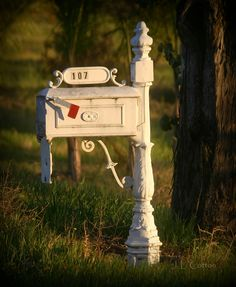 Love these iron mailboxes! Want one for new house! They are so expensive...I just need to find and old one hubby can paint!