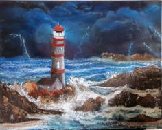 """""""Stormy night"""". Oil on canvas"""