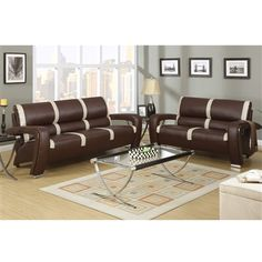 Modern 2-PCS 3 Seat Sofa 2 Seat Loveseat 2 Tone Color Bonded Leather