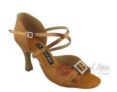 Natural Spin Latin Shoes(Open Toe, Adjustable):  M1112-02_DrBrownCS