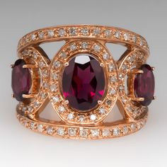 Wide Band Garnet Cocktail Ring 14K Rose Gold with Diamonds