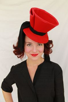 1940s-Style Red Felt Tilt Hat with Black Chiffon Drape BY JILLIAN GARRETT #HatAcademy #milinery