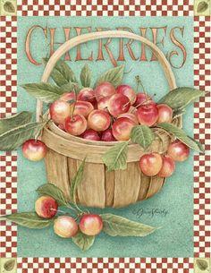 Cherries vintage print.