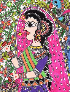 Lady-Peacock Madhubani Painting - 12.5in x 9in
