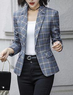 Women's Daily Basic Plus Size Short Blazer, Check Notch Lapel Long Sleeve Polyester Dark Gray / Navy Blue XXL / XXXL / XXXXL / Slim
