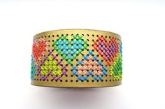 Cross stitch bracelet embroidered cuff gold with door EvitaHandmade