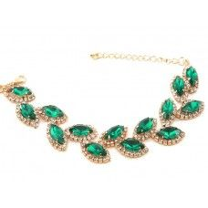 Emerald green goldtone diamante sparkly bracelet