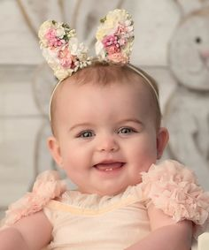 White & Pink Floral Bunny Ear Headband  So adorable!  Easter | Baby | Headband  #affiliate
