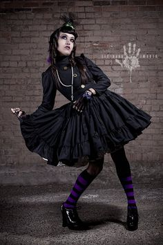 Steampunk Dress Featured in Alt Noir Magazine Lolita Gothic Dress Black Military Dress with Full Ruffled Skirt & Gears Custom Size