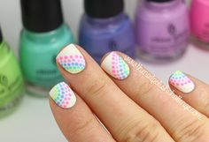 The Nail Polish Challenge: Inspired Neon Rainbow Dotticure. Started with a base of KBShimmer Eyes White Open and dotted on five China Glaze shades: Bottoms Up, Lotus Begin, What A Pansy, Too Yacht to Handle, and Grass is Lime Greener. I topped everything off with matte top coat.