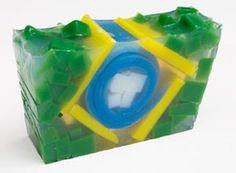 Sabonete com a bandeira do Brasil