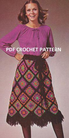 Vintage Mosaic Skirt Crochet PDF Pattern by KatnaboxCrochet