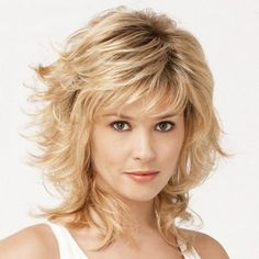 Trendy Side Bang Medium Layered Shaggy Curly Mixed Color Capless Real Human Hair Wig For Women