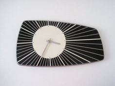 Retro Mod Black and White Wall Clock by rhanvintage on Etsy