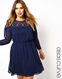 ASOS CURVE Skater Dress With Lace Batwing [note: dress comes in navy, berry, or cream.] #plussize