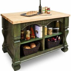 Jeffrey Alexander Tuscan Kitchen Island With Hard Maple Edge Grain Butcher Block…