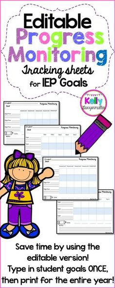 Are you in need of new goal tracking sheets for monitoring your students progress on their IEP goals? It can be a challenge to find the best way to monitor IEP goals. Included are two versions of 4 different styles. There is a PDF version to print and write in your goals, then there is a PowerPoint Editable version in which you can type in your student goals once and print them out for the entire year!