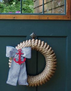 Nautical rope wreath and other coastal wreaths from Ocean Offerings... http://www.oceanofferings.com/wreaths.html