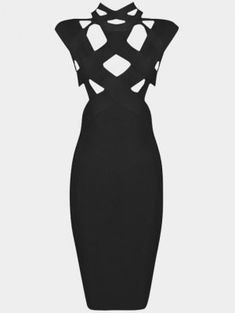 Cut Out Fitted Bandage Dress - Black S