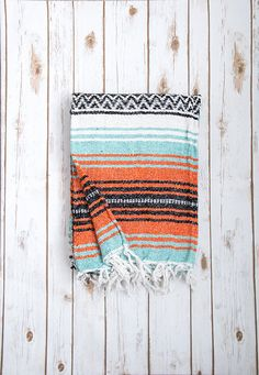Mint & Orange Mexican Blanket, Authentic Vintage Handwoven Bohemian Mexican Falsa Blanket, Mexican Beach Blanket, Mexican Yoga Blanket by LindsayMarcella on Etsy https://www.etsy.com/listing/250312673/mint-orange-mexican-blanket-authentic