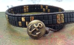 Double Wrap Bracelet, Black Bracelet, Miyuki Bracelet, Men's Unisex Bracelet, leather Cuff Bracelet, Nautical Jewelry by CupidsMoonJewelry on Etsy