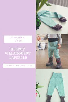 Villahousut lapselle, helppo ohje Knitting, Sewing, Baby Things, Crochet, Mini, Pants, Fashion, Trouser Pants, Moda