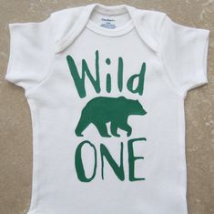 Wild One Bear First Birthday Onesie - baby boy, woodland creatures, bear by noellebydesign on Etsy https://www.etsy.com/listing/236031112/wild-one-bear-first-birthday-onesie-baby
