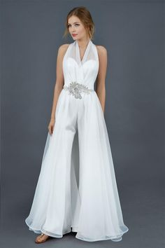 Sheer white satin jumpsuit with ruffled detailed and bell bottoms for Atelier Eme