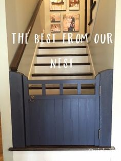 Custom wooden Baby Gate :: The Best From Our Nest :: My obsession with NAVY :: Brass :: Hale Navy :: interior Design :: DIY :: Olivia Charles Antiques and Interiors :: Baby Gate For Stairs, Barn Door Baby Gate, Diy Baby Gate, Stair Gate, Pet Gate, Dog Gates, Barn Doors, Custom Baby Gates, Wooden Baby Gates