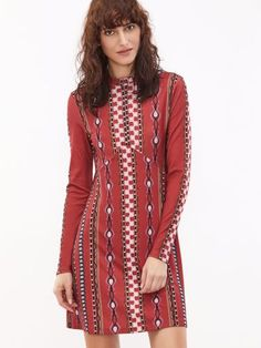Red Tribal Print Mock Neck Long Sleeve A Line Dress