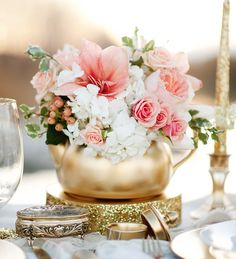 Romantic Blush + Gold Wedding Centerpiece