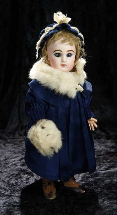 Soirée: A Marquis Cataloged Auction of Antique Dolls and Automata - May 14, 2016: 64 French Bisque Blue-Eyed Bebe by Emile Jumeau with Signed Jumeau Shoes