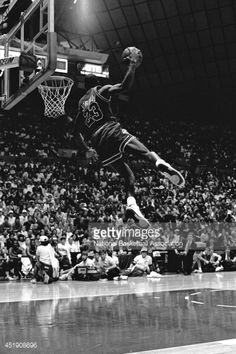 Michael Jordan of the Chicago Bulls attempts a dunk during the 1987 Slam Dunk Contest on February 1987 at Seattle Center Coliseum in Seattle, Washington. Get premium, high resolution news photos at Getty Images Michael Jordan Last Game, Michael Jordan Slam Dunk, Mike Jordan, Michael Jordan Pictures, Michael Jordan Basketball, Michael Jordan Chicago Bulls, Love And Basketball, Lebron James, Jordan Logo Wallpaper