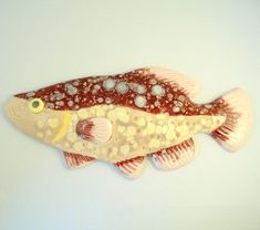 Burgundy color fish Ceramic wall decoration Made to by WisperOn